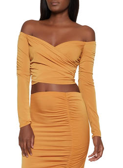 Faux Wrap Off the Shoulder Crop Top - 3413069390563