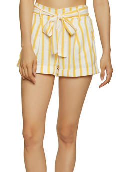 Tie Waist Striped Shorts - 3413069390591