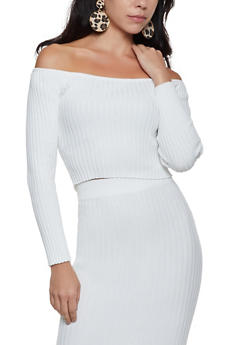 Off the Shoulder Ribbed Crop Top - 3413069390667