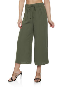 Cropped Solid Palazzo Pants - 3413069390723