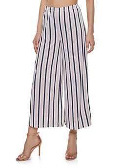 Striped Wide Leg Pants - 3413069390744