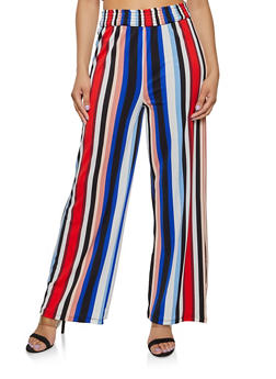 Multi Color Smocked Waist Palazzo Pants - 3413069390827
