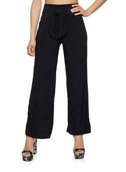 Solid Tie Waist Palazzo Pants - Black - Size M - 3413069390828