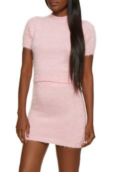 Short Sleeve Eyelash Knit Sweater - 3413069391610