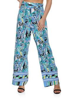 Paisley Print Wide Leg Pants - 3413069392367