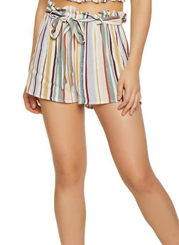 Striped Ruffle Trim Shorts - 3413069392374