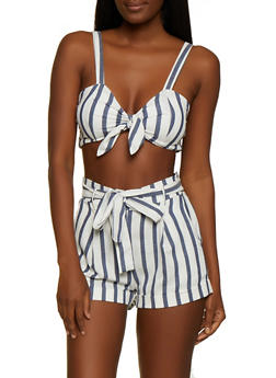 Smocked Back Striped Tie Front Crop Top - 3413069393021