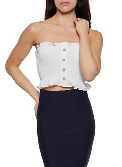 Smocked Button Cropped Tube Top - 3413069393313