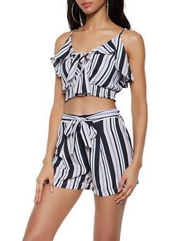Striped Tie Front Crop Top | 3413069393331 - 3413069393331