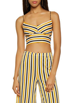 Striped Cami Crop Top - 3413069393388