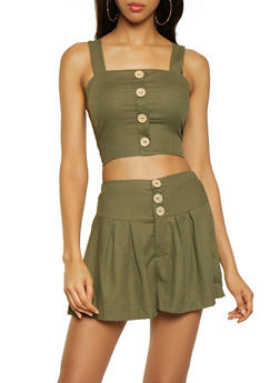 Tie Back Linen Crop Top - 3413069393390