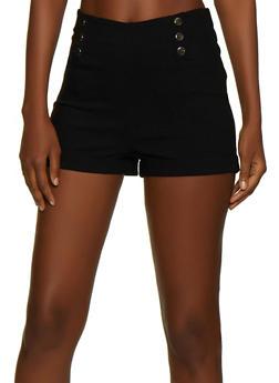 Metallic Button Stretch Shorts - 3413069393477
