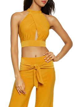 Faux Wrap Tie Back Crop Top - 3413069393522