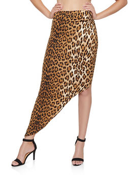 Leopard Ruched Asymmetrical Skirt - 3413069393998