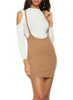 Rib Knit Suspender Skirt - 3413069394221