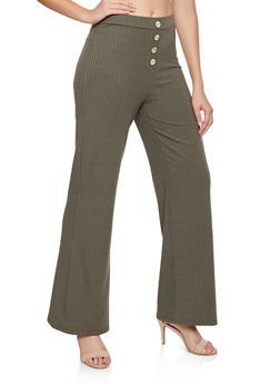 Rib Knit Wide Leg Pants - 3413069395112