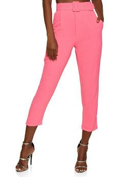 Belted Crinkled Pants - 3413069395253