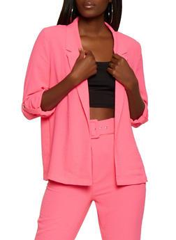 Tabbed Sleeve Crinkled Blazer - 3413069395254