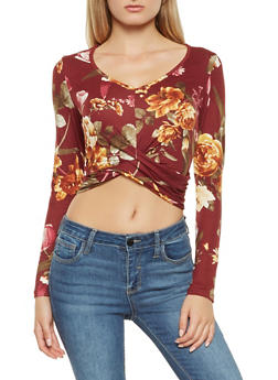 Floral Twist Front Crop Top - 3413069395264