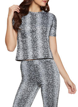 Snake Print Short Sleeve Top - 3413069395306