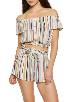 Striped Off the Shoulder Button Front Crop Top - 3413069395374