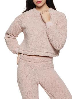 Plush Pullover Sweatshirt - 3413069395454