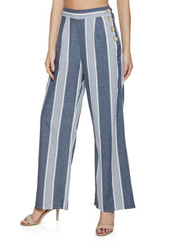 Button Side Striped Palazzo Pants - 3413069395511