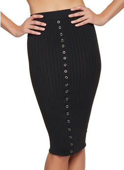 Snap Detail Rib Knit Pencil Skirt - 3413069396013