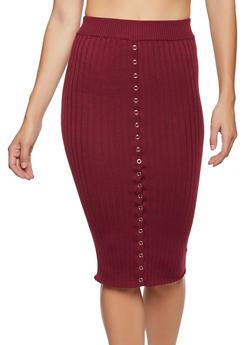 Snap Detail Rib Knit Pencil Skirt - 3413069396013