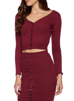 Snap Front Cropped Sweater - 3413069396014