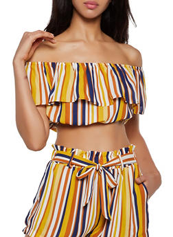 Striped Ruffle Off the Shoulder Crop Top - 3413069396380