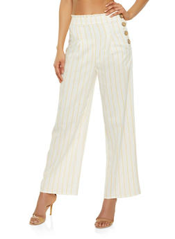 Striped Button Side Palazzo Pants - 3413069397051