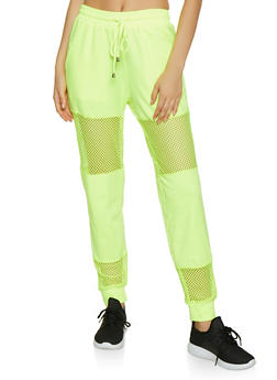 Fishnet Insert Joggers - NEON YELLOW - 3413069397634