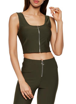 Zip Front Ribbed Knit Crop Top - 3413069398080