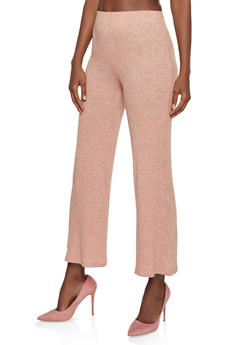 Flared Ribbed Knit Pants - 3413069398282