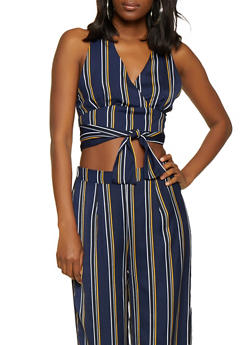 Striped Faux Wrap Tie Front Crop Top - 3413069398905