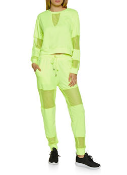 Fishnet Insert Sweatshirt - NEON YELLOW - 3413069399051