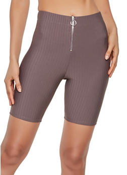 Zip Front Ribbed Knit Bike Shorts - 3413069399090