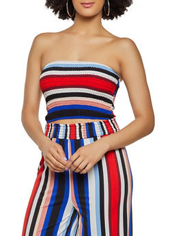 Smocked Multi Color Tube Top - 3413069399827