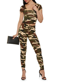 Camo Crop Top and Leggings Set - 3413072240052