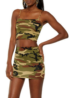 Camo Crop Top and Skirt Set - 3413072240180