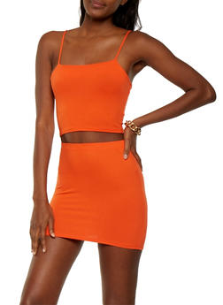 Solid Crop Top and Skirt Set - ORANGE - 3413072241180