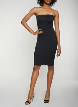 Soft Knit Midi Tube Dress - Black - Size M - 3413072242771