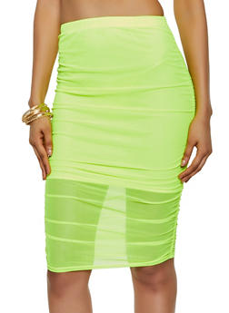 Ruched Mesh Pencil Skirt - 3413072247800