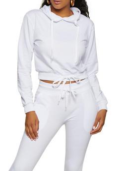 Hooded Drawstring Waist Sweatshirt - 3413072290060
