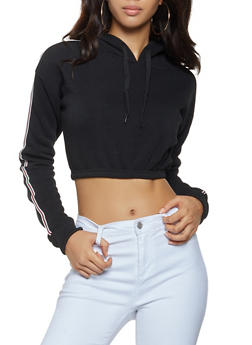 Tape Trim Cropped Sweatshirt - 3413072290102