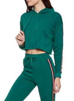 Striped Tape Trim Hooded Sweatshirt - 3413072290150