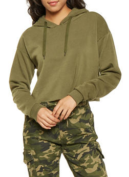 Fleece Lined Cropped Hoodie - 3413072290229