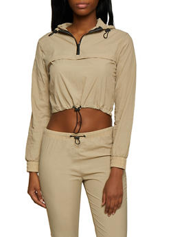 Half Zip Cropped Windbreaker - 3413072290503