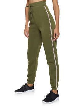 Striped Tape Trim Sweatpants - 3413072291102